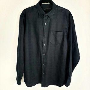 Tommy Bahama Black Linen Button Down Shirt Medium